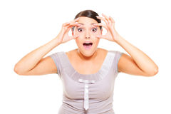 Portrait of astonishment woman Royalty Free Stock Image