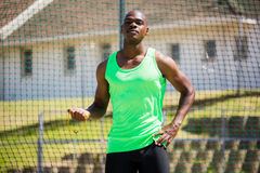 Portrait of athlete holding hammer throw Royalty Free Stock Photography