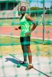 Portrait of athlete holding hammer throw Stock Photos