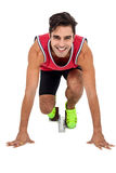 Portrait of athlete man in ready to run position Royalty Free Stock Photo
