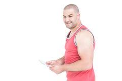 Portrait of athlete using digital tablet Royalty Free Stock Image