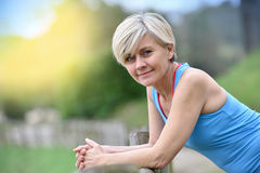 Portrait of athletic beautiful senior lady working out Stock Images