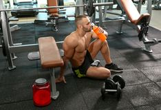 Portrait of athletic man drinking protein shake. In gym royalty free stock photos