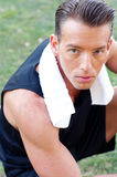 Portrait of an athletic man with workout towel Royalty Free Stock Images