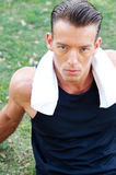 Portrait of an athletic man with workout towel Royalty Free Stock Photography