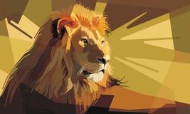 Portrait of an attentive male lion resting stock illustration