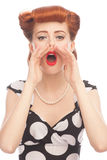 Woman screaming out loud Stock Image