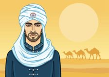 Portrait of the  attractive Arab man in a turban. Animation portrait of the Arab man in a turban. Background - the desert, a caravan of camels. Vector Royalty Free Stock Photo