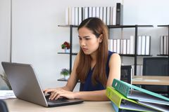 Portrait of attractive Asian business woman working with laptop in office royalty free stock image