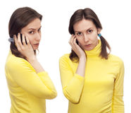 Woman Girl speaking mobile mobile isolated white Stock Image