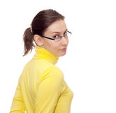 Woman girl glasses isolated white Stock Photos