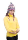 Young woman woollen cap isolated white Stock Photos
