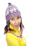 Girl woollen cap isolated white Royalty Free Stock Photo