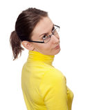 Young woman glasses looking upward isolated white Royalty Free Stock Photos