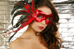 Portrait of attractive beautiful woman carnival ma. Sk Royalty Free Stock Photography