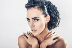 Portrait of attractive beautiful young brunette woman royalty free stock images