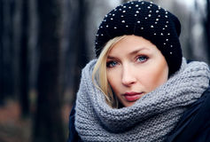 Portrait of attractive beauty in park. Royalty Free Stock Photos