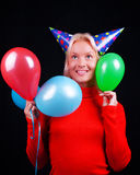 Portrait of attractive blonde with balloons Stock Image