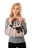 Portrait of attractive blonde with a handbag Royalty Free Stock Photos