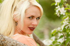 Portrait of a attractive blonde woman Royalty Free Stock Photography