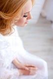 Portrait attractive blonde woman top view Stock Image