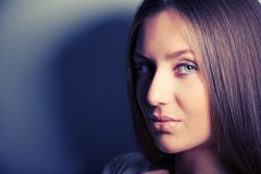 Portrait of attractive brunette girl with shadows Stock Image