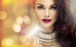 Portrait of attractive brunette lady with amazing look Royalty Free Stock Photo