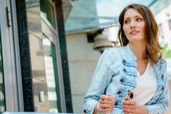 Portrait of attractive brunette woman wearing casual clothes Stock Images