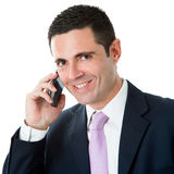 Portrait of Attractive business man in suit talking on smart pho Royalty Free Stock Image