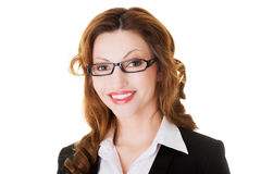 Portrait of attractive business woman in eye glasses. Royalty Free Stock Image