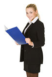 Portrait  attractive business woman with folder Stock Photography