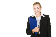 Portrait  attractive business woman with folder Stock Image