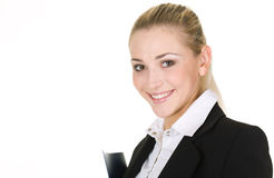 Portrait  attractive business woman with folder Royalty Free Stock Photography