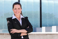 Portrait of attractive business woman in the street Royalty Free Stock Photos