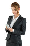Portrait of attractive business woman touching smart phone Stock Image