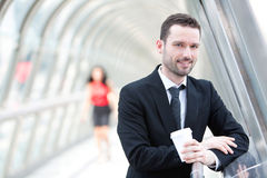 Portrait of an attractive businessman having a break Royalty Free Stock Photos