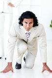 Portrait of an attractive businessman on his marks Royalty Free Stock Photos