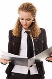 Portrait of attractive businesswoman with document royalty free stock photos