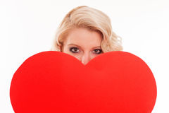 Portrait of attractive caucasian smiling woman blond isolated on Stock Images