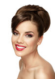 Portrait of attractive caucasian smiling woman royalty free stock image