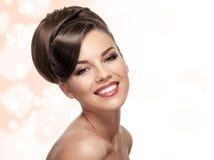 Portrait of attractive caucasian smiling woman stock photos