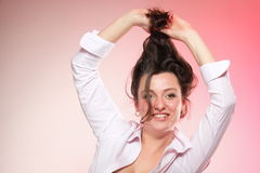 Portrait of attractive smiling woman brunette Royalty Free Stock Photos