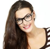 Portrait of attractive caucasian smiling woman with glasses. Isolated on white, studio Royalty Free Stock Photos