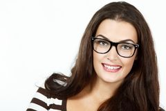 Portrait of attractive caucasian smiling woman with glasses. Isolated on white, studio Stock Image
