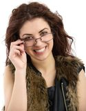 Portrait of attractive caucasian smiling woman isolated on white Royalty Free Stock Images