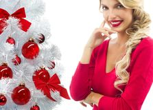 Woman beauty christmas tree red balls Stock Images