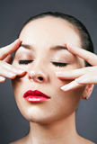 Portrait of attractive caucasian woman making face Royalty Free Stock Photo