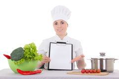 Portrait of attractive cook woman in uniform with clipboard at t Stock Photos