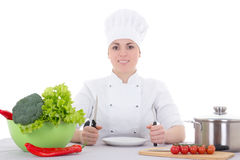 Portrait of attractive cook woman in uniform on the kitchen Royalty Free Stock Images