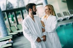 Portrait of attractive couple in spa center royalty free stock image